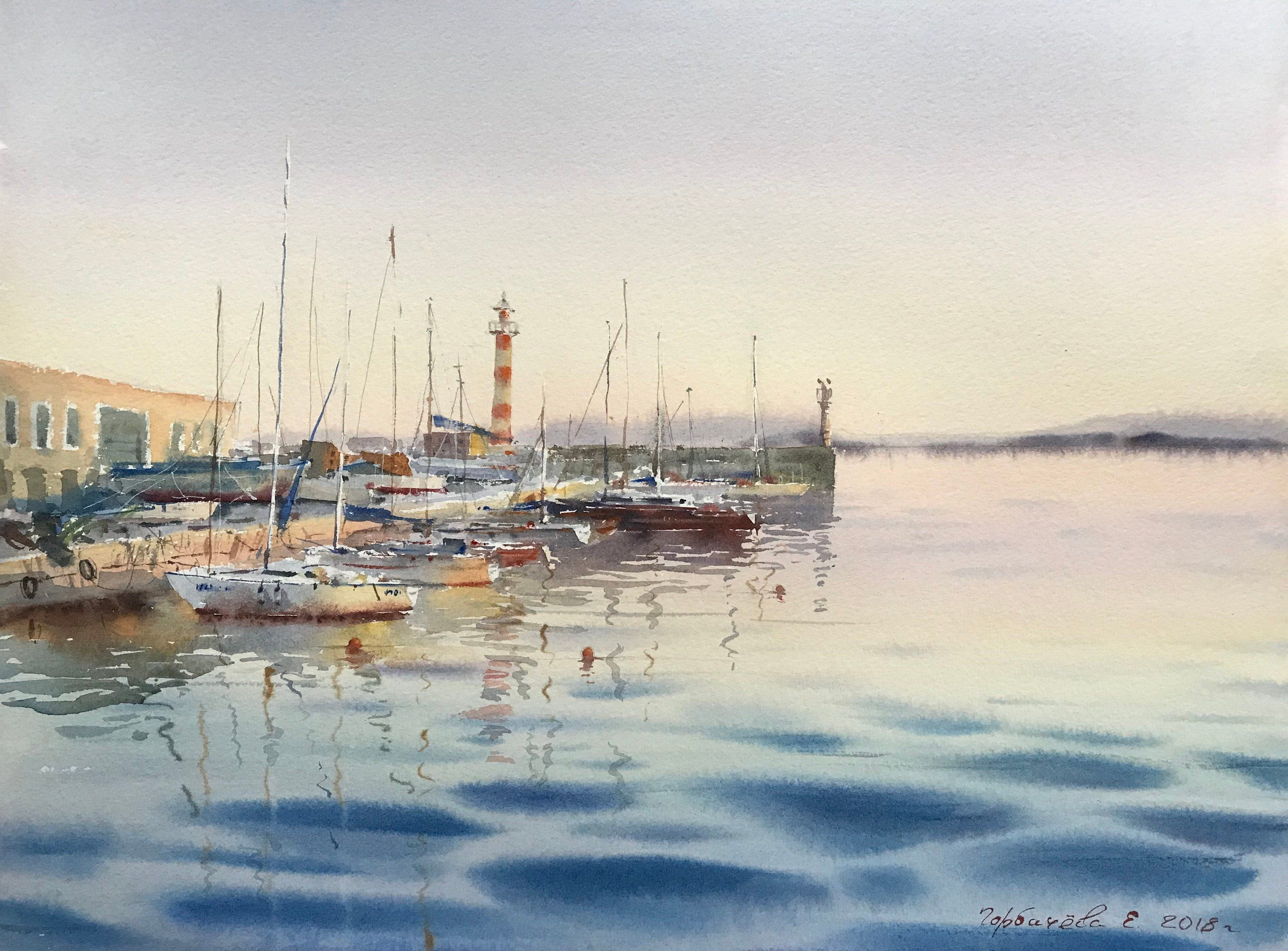 Marine At Dawn Watercolor Painting Seascape Original Artwork