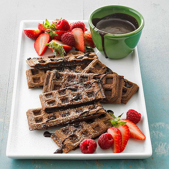 Have a brunch wedding or event - Chocolate Waffles with Mocha Syrup
