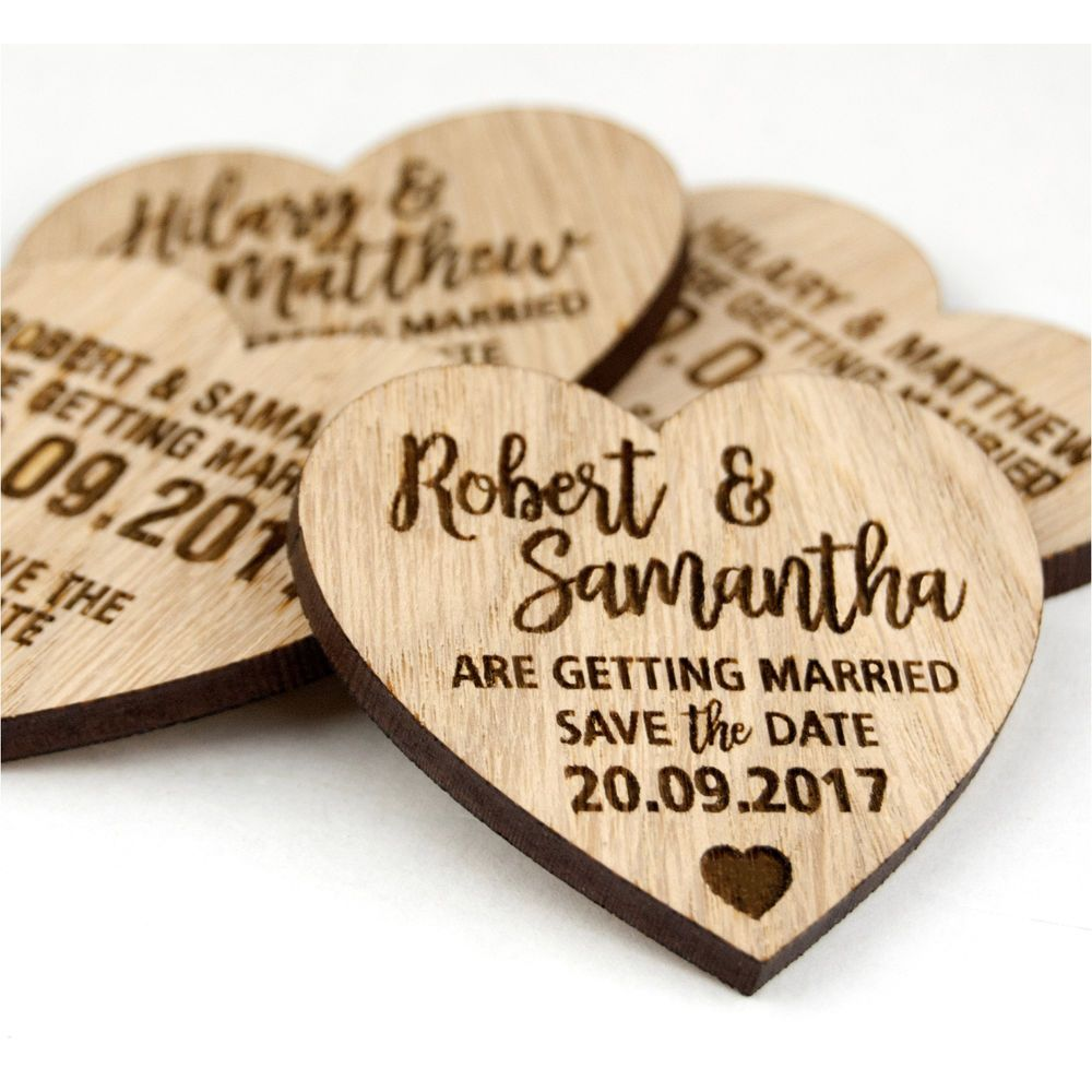 Wedding Save The Date Personalised Wooden Oak Heart Invitation ...