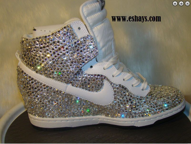 official photos 8f6e9 06476 ... best price custom bling rhinestone white croc snake nike dunk sky hi  wedge sneaker those shoes