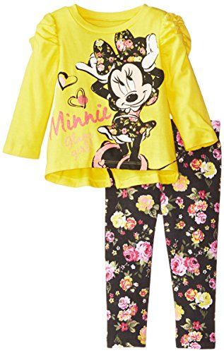 80a76ca9e Disney Baby Girls' Minnie Mouse Flower Legging Set with Bow Back Top, Yellow ,