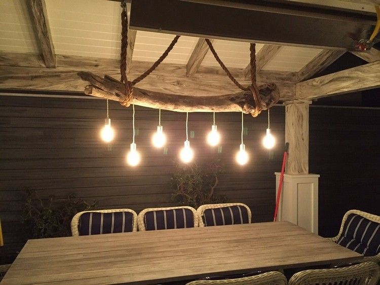 Lampe bois flotté, lampadaire et suspension par la Nature ...