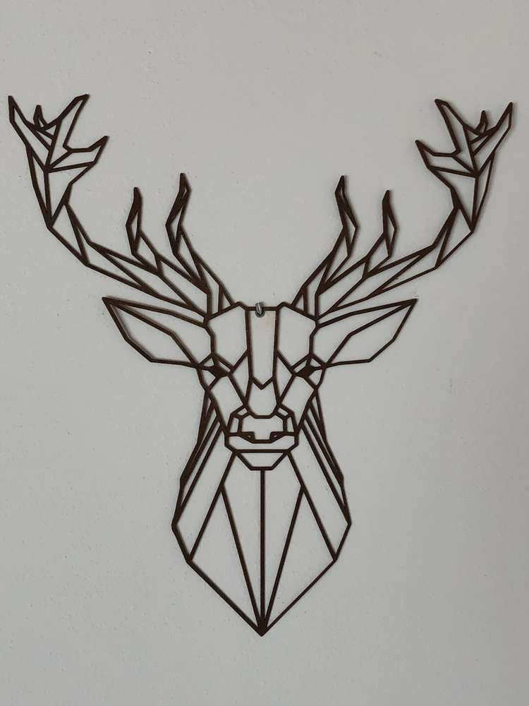 hirsch geometrisch zum hangen metalldesign kattner metall design tattoo wandobjekte modern wanddeko vogelschwarm
