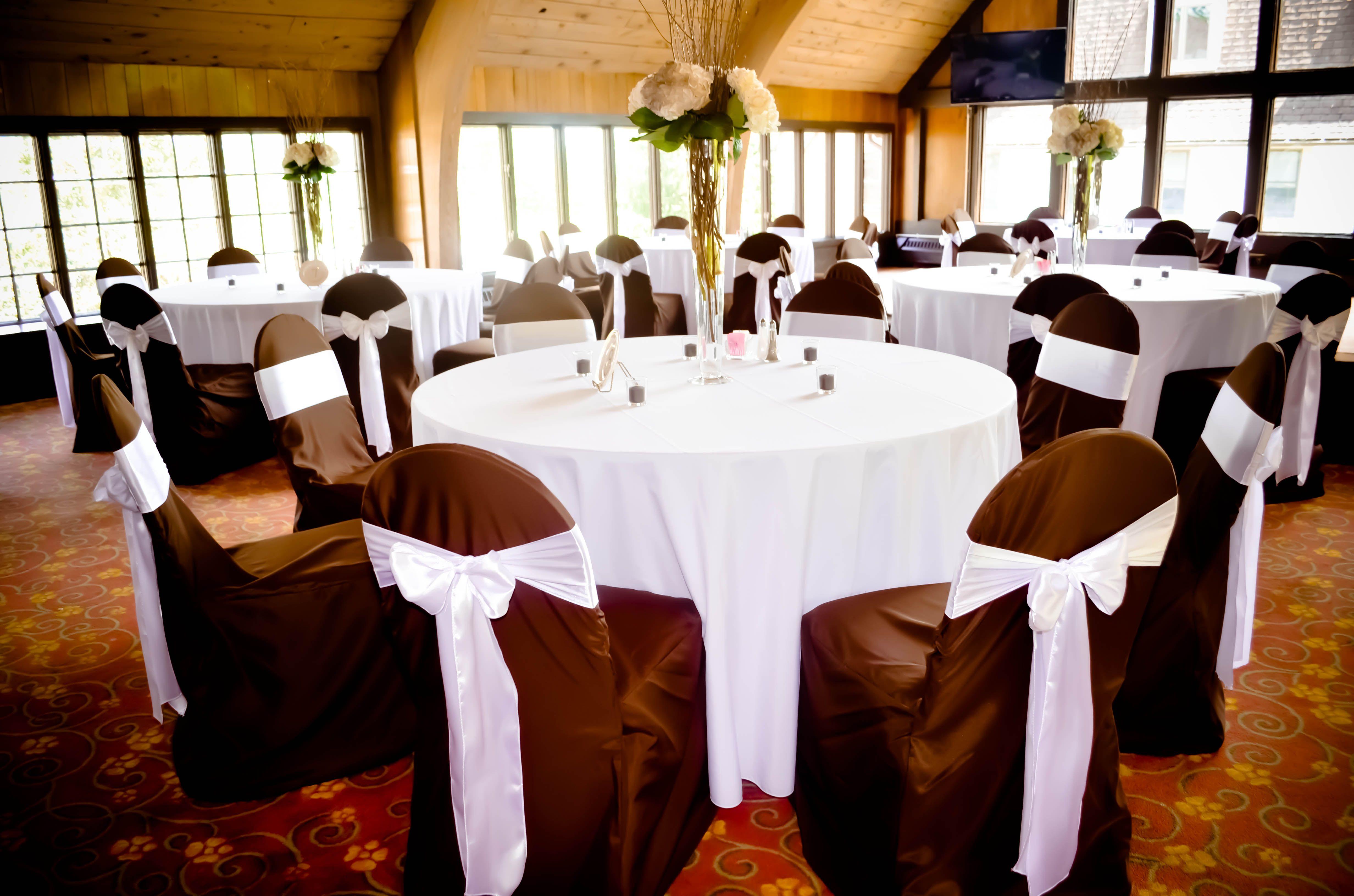 Brown Banquet Chair Covers & White Satin Chair Sashes