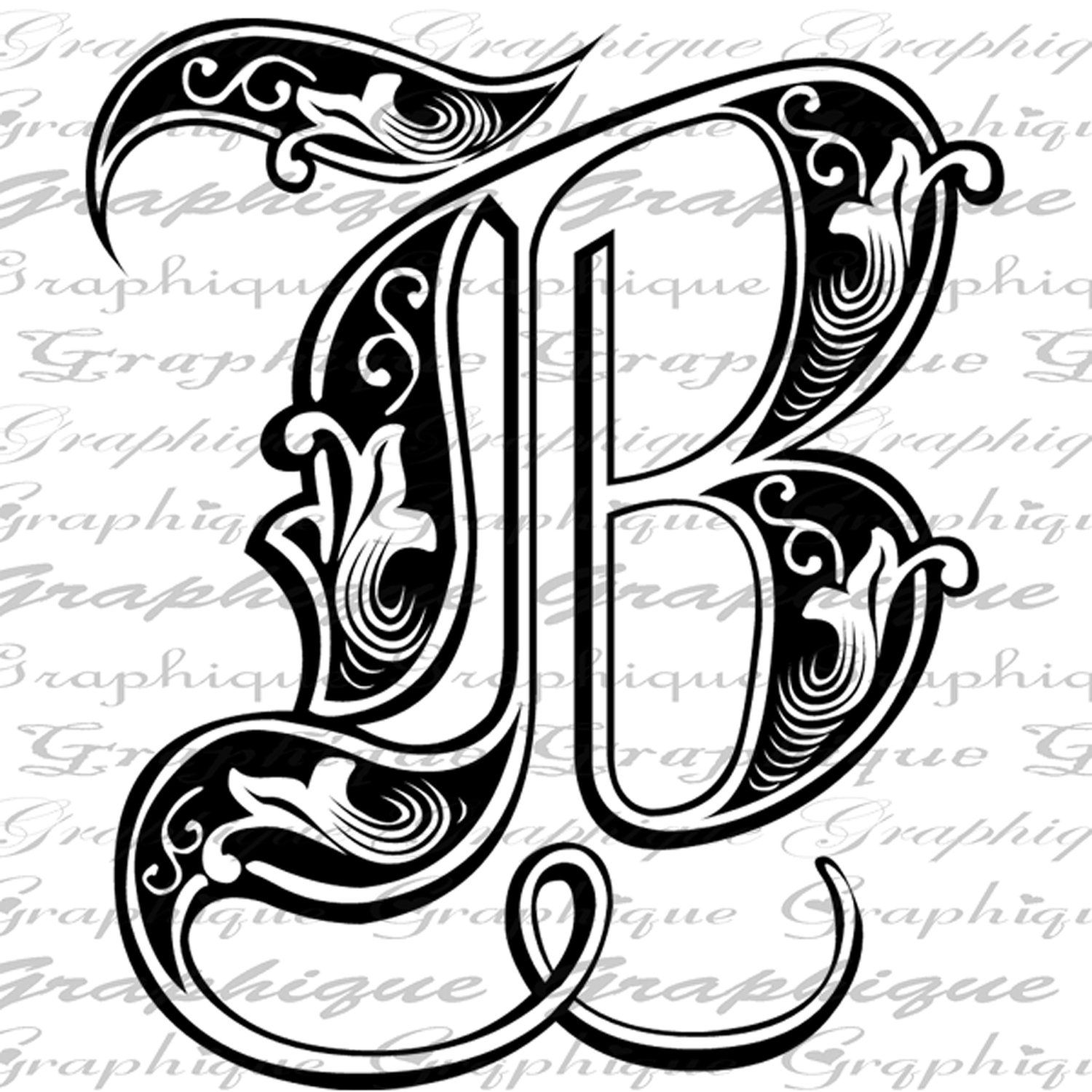 Letter initial b monogram old engraving style type text for Initial letters
