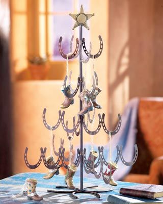 Western themed miniature horseshoe christmas tree wild for Horse decorations for home