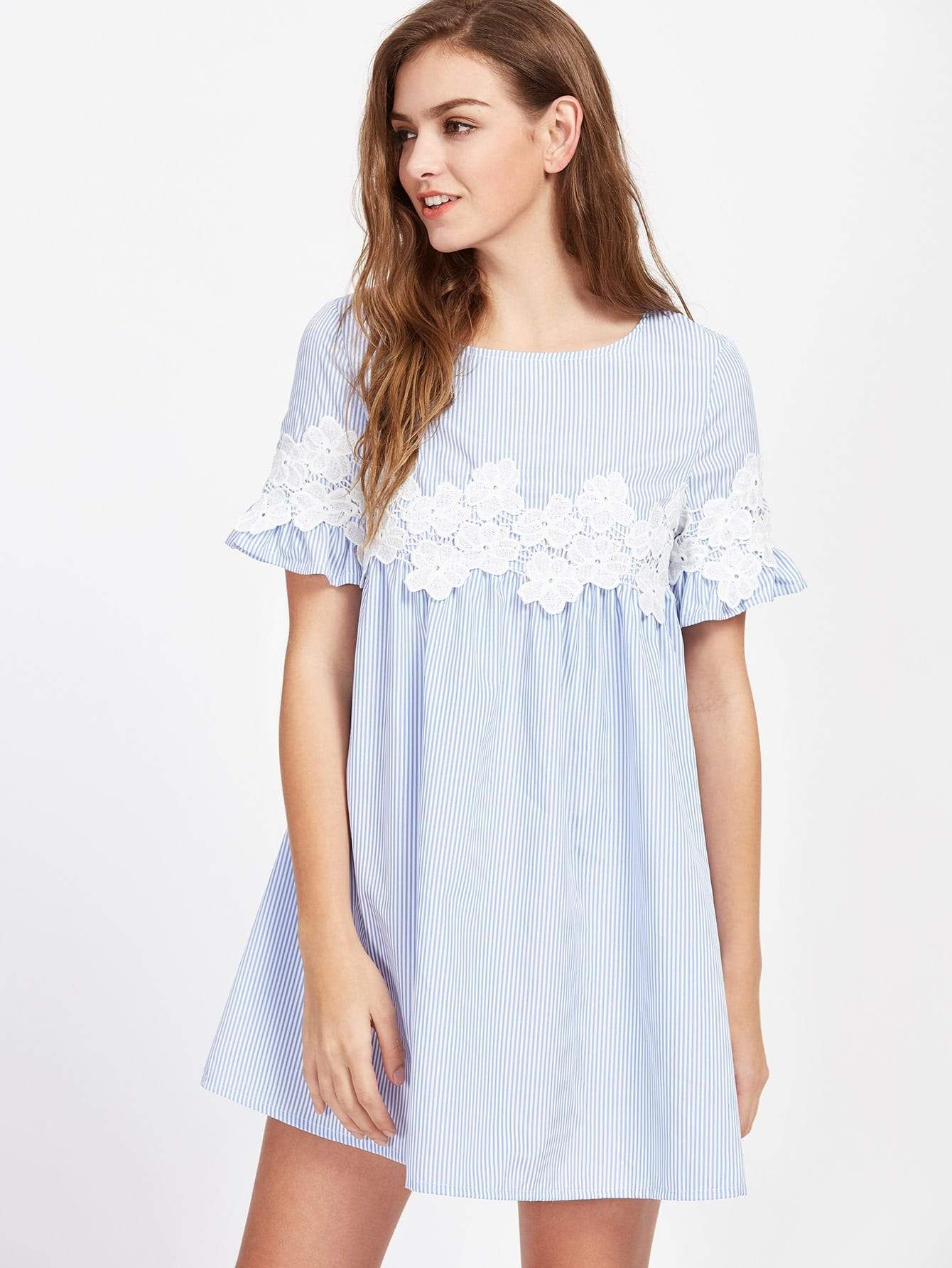 7047fc44200 Floral Lace Applique Frill Sleeve Striped Babydoll Dress