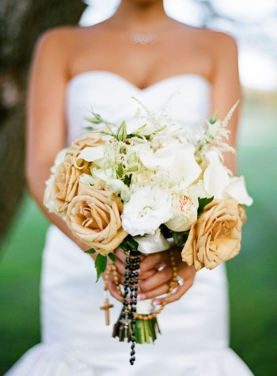 Cream And White Bridal Bouquet Wedding Champagne Colored