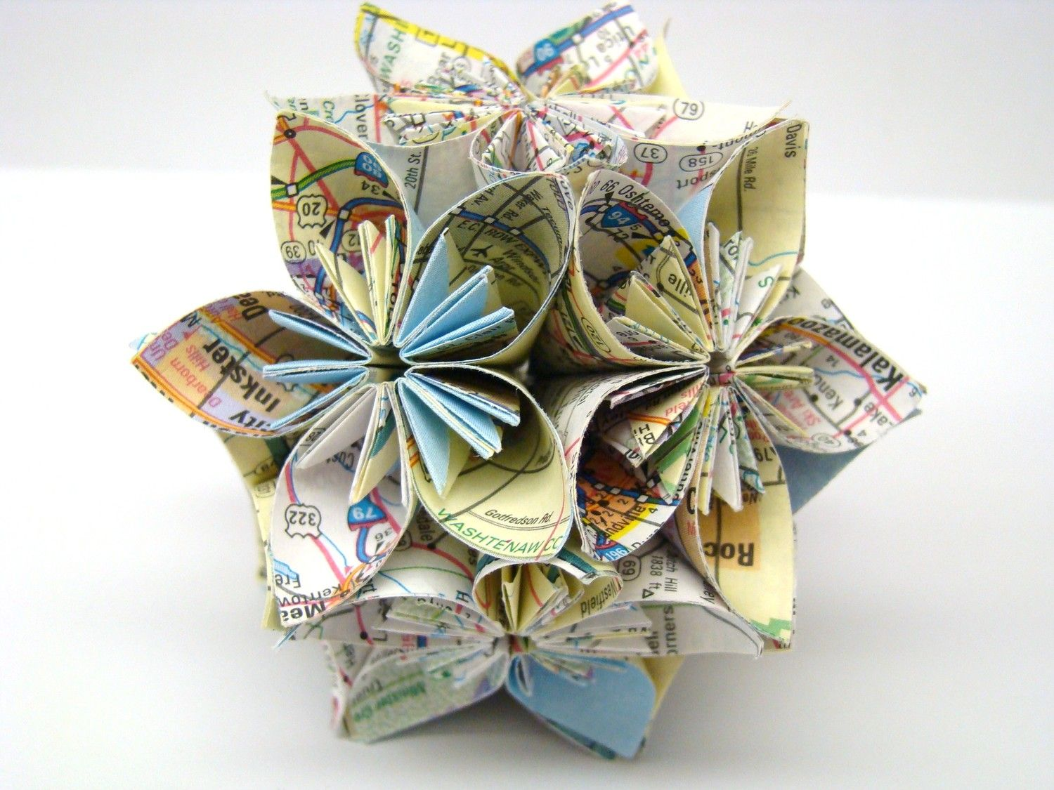 Cyber Monday Sale Mini Kusudama Flower Origami Ball Recycled Map