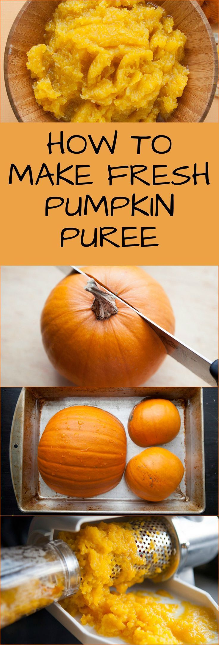 Easy Step by Step Instructions on how to make Fresh Pumpkin Puree from Pumpkins! You can use any type of pumpkin for this. Pumpkin Puree can be used in cooking and baking year round!
