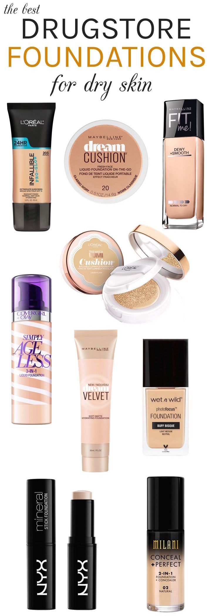 Dry skin? Here are the best drugstore hydrating foundations with a dewy fresh finish that can instantly take your complexion from drab to fab! #dryskin