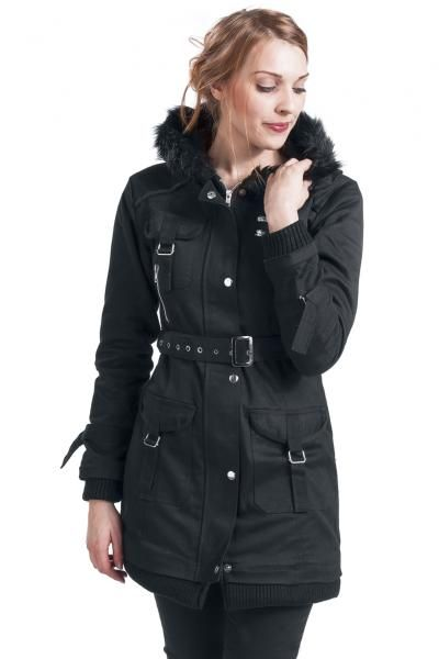 """Giacca donna """"Multi Pocket Jacket"""" della collezione #GothicanabyEMP nera con fodera, tasche, fibbie e colletto in pelliccia sintetica 100% poliestere. lu.: 88 cm circa."""