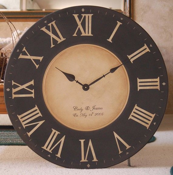 Lovely Large 30 Inch Wall Clock Framed Antique Style Tuscan Black Gallery  Personalized Big Round