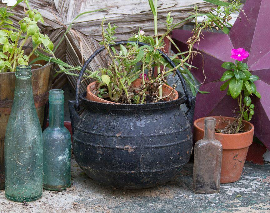 Antique Cast Iron Cauldron Country Primitive Decor Rustic Home