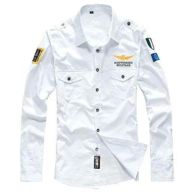 c2438d4a New Military Air Force Shirt Men Long Sleeve Casual Embroidery Logo Patch  Plane Pilot Shirt Fashion Shirt Brand Clothing