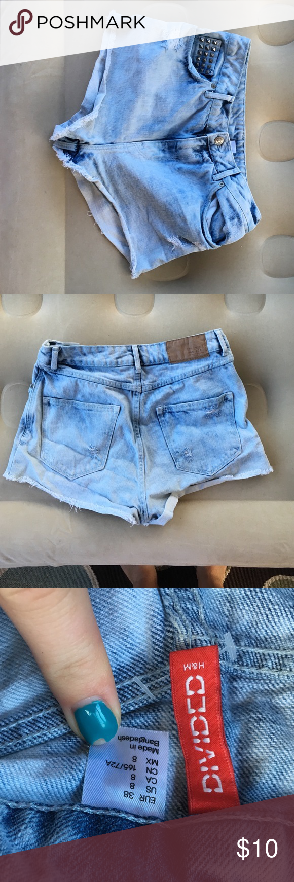 Acid Washed High-Waisted Shorts size 8 only worn a few times and still in great condition!! Divided Shorts Jean Shorts