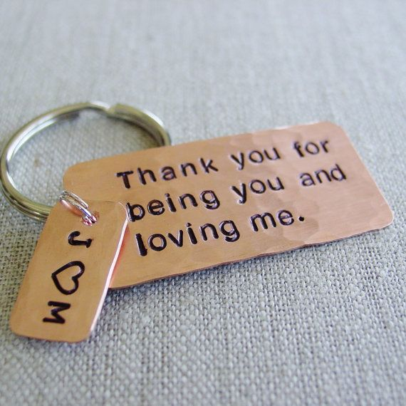 Copper Wedding Gifts: Anniversary Gift Idea, Copper Keychain, Seventh