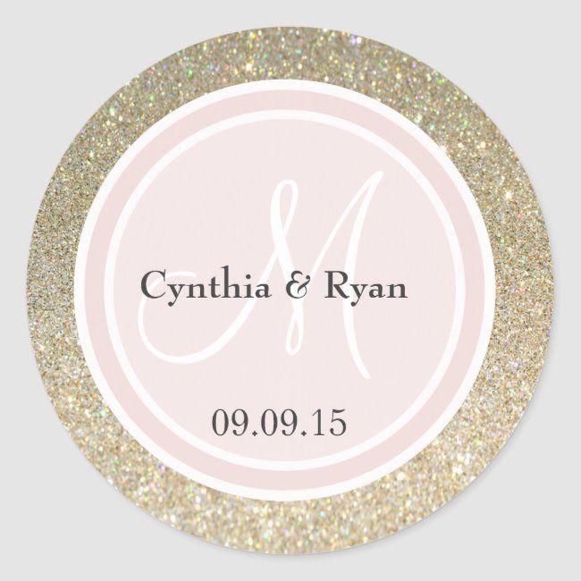 Gold Glitter & Blush Pink Wedding Monogram Classic Round Sticker , #AD, #Pink#Blush#Monogram#Wedding