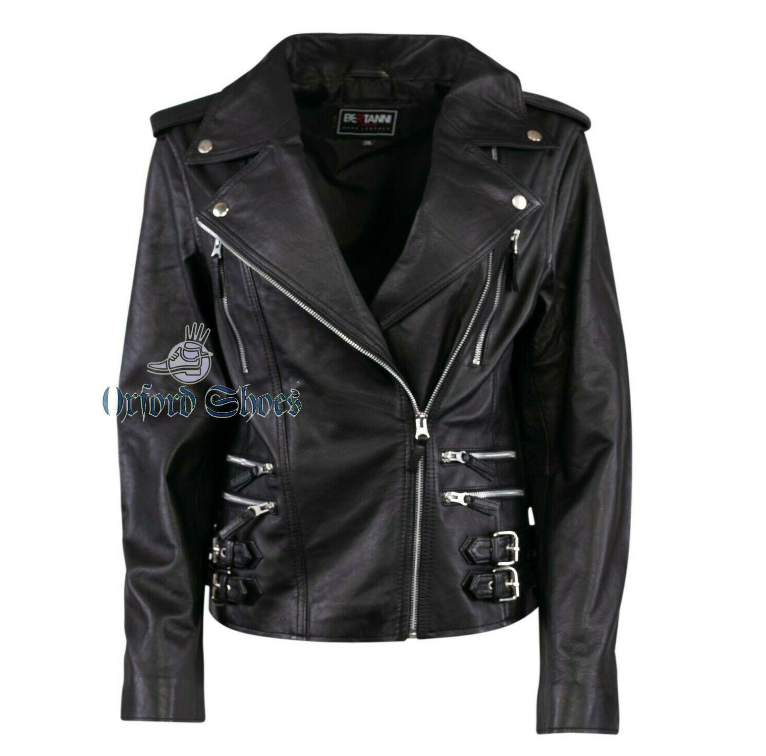 Handmade pure leather biker jacket for women in 2020