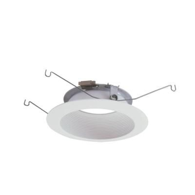 Halo 5 in. Matte White Recessed LED Lighting Baffle Trim and Flange-593WB - The Home Depot