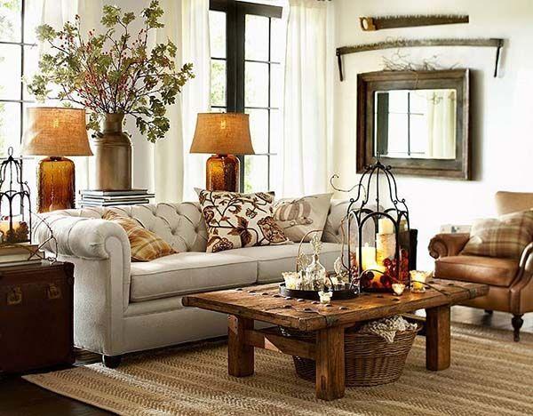 30 Beautiful Fall Inspired Living Room Designs Farm House Living Room Pottery Barn Living Room Rustic Living Room