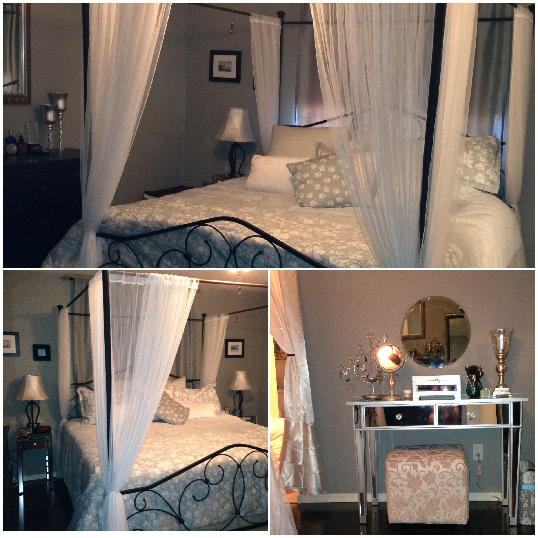 Artisan grey paint in bedroom, wood floors, mirrored accent ...