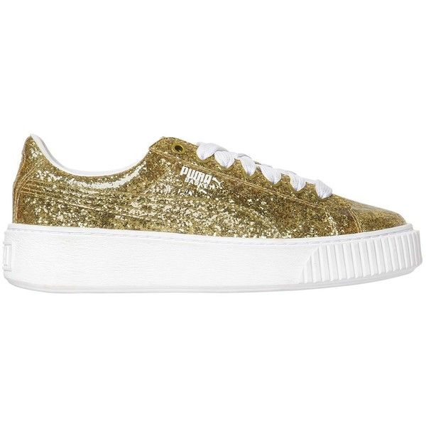 c3d9faeed594 Puma Select Women Basket Platform Glitter Sneakers ( 165) ❤ liked on  Polyvore featuring shoes