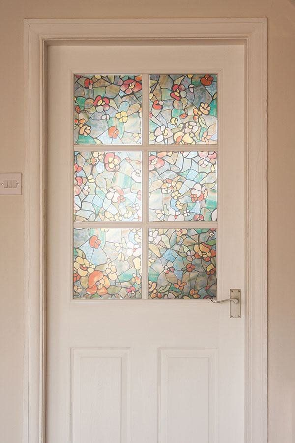 Venetian Garden Stained Glass Window Film Privacy Peel And