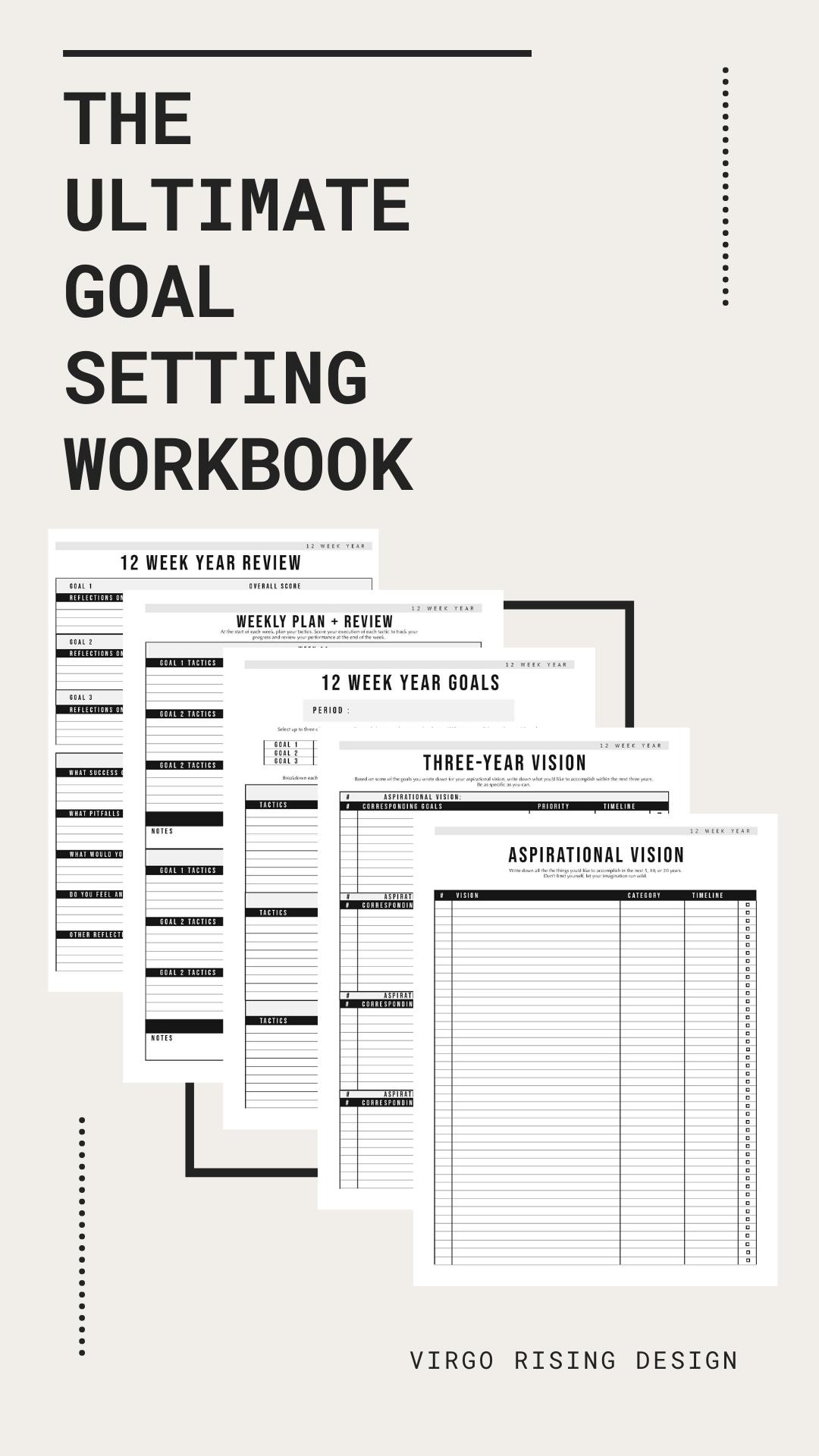 12 Week Goals Bundle Goal Planning Templates Goal Setting Etsy Goal Planning How To Plan Workbook