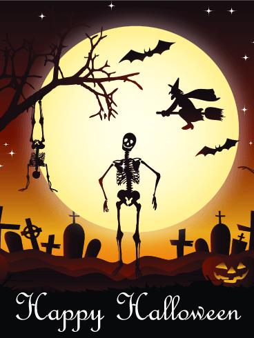 Dancing Skull Happy Halloween Card Birthday Greeting Cards By Davia Halloween Images Halloween Wishes Halloween Pictures