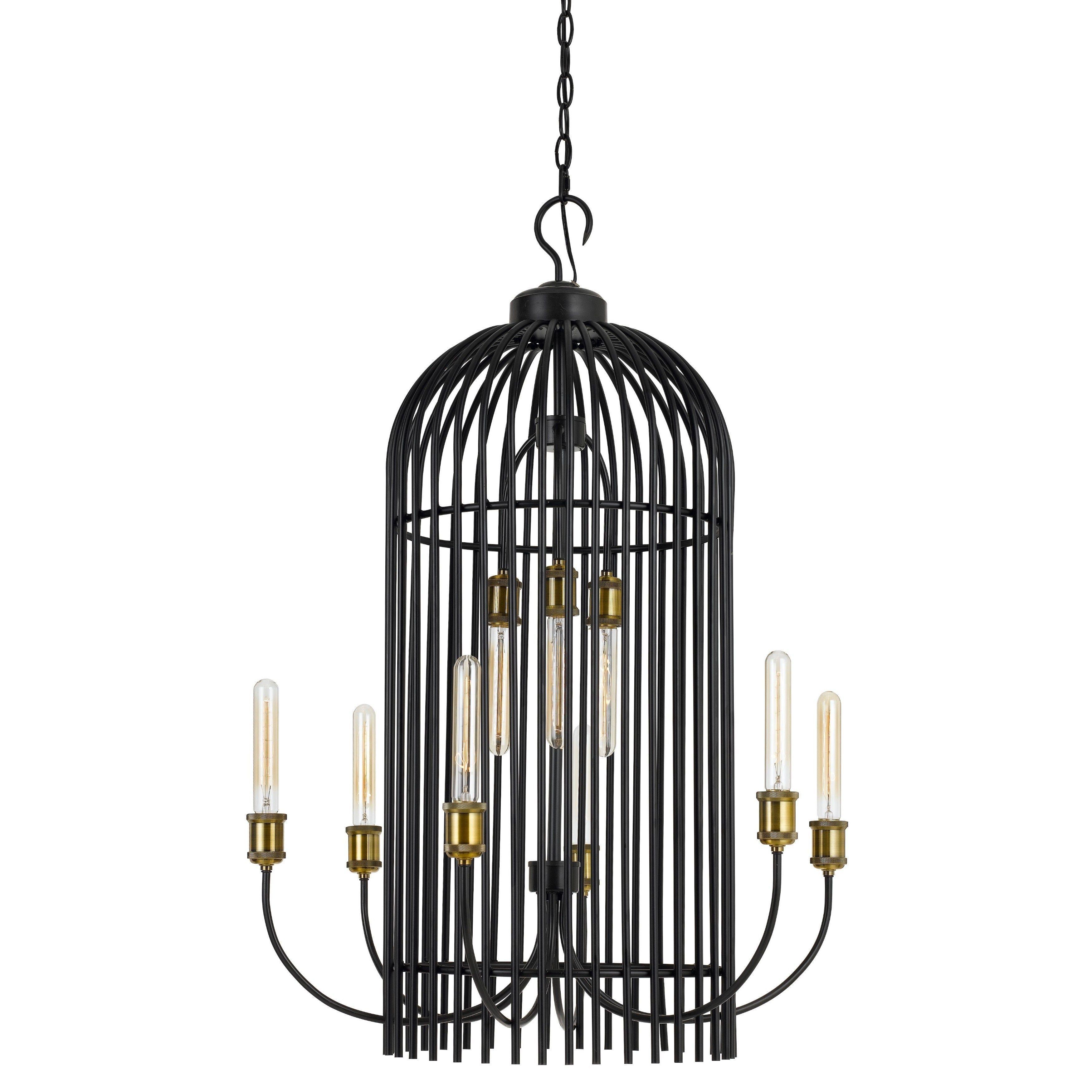 Metal 9 light 60 watt birdcage chandelier chandelier black cal lighting birdcage 9 light 26 wide 2 tier caged chandelier with bl black arubaitofo Image collections