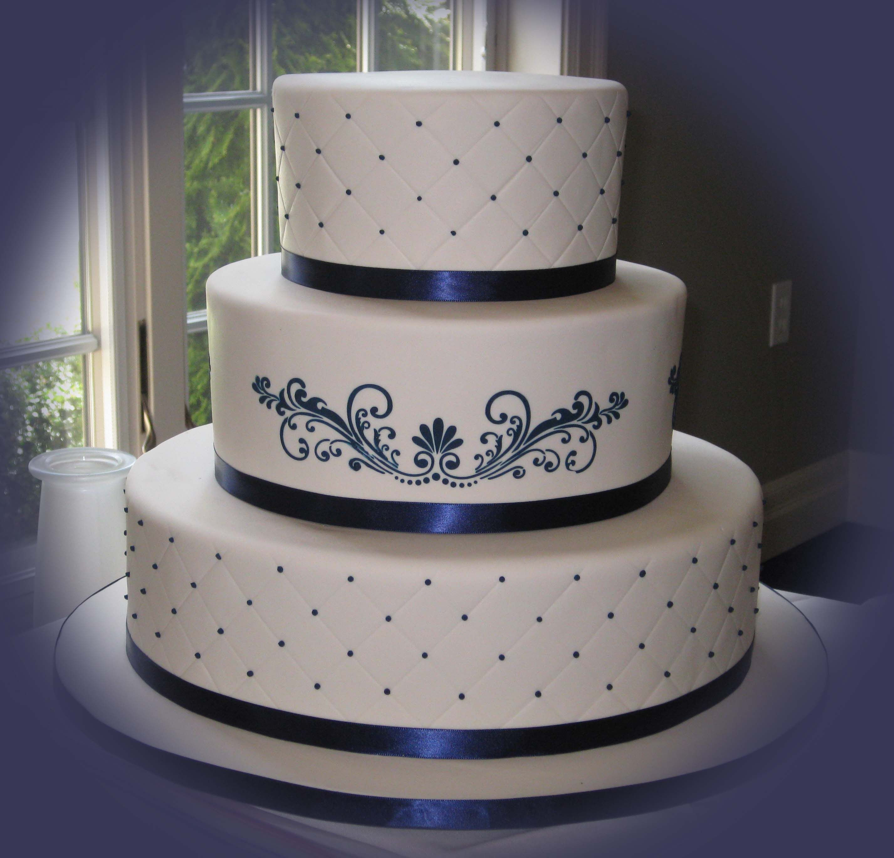 Dark Blue And White Wedding Cakes