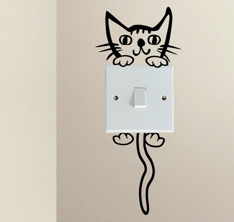 Cute Cartoon Kitty Cat Baby Pet light switch funny vinyl Love Heart decor funny…