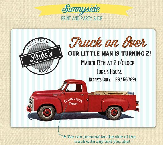 Vintage Pickup Truck Retro Birthday Invitation - Printable or Printed Set