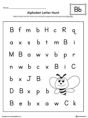 alphabet letter hunt letter b worksheet  pallet  pinterest  the alphabet letter hunt letter b is a fun activity that helps students  practice recognizing the uppercase and lowercase letter b