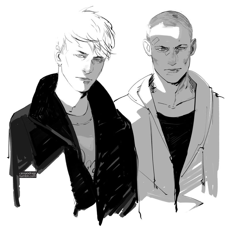 "[cassandrajp: This piece is titled ""The Judgmental Stares of Adam Parrish and Ronan Lynch""]"