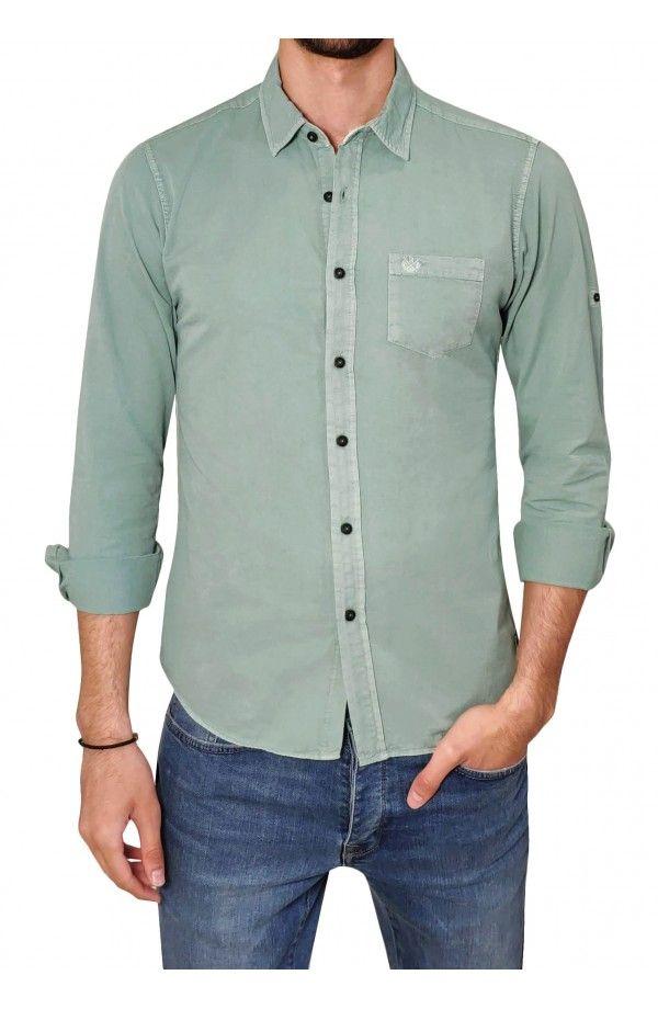 39f763a65abf RIV SD Ανδρικό πουκάμισο σε στενή γραμμή με τσέπη στο στήθος.Το μοντέλο της