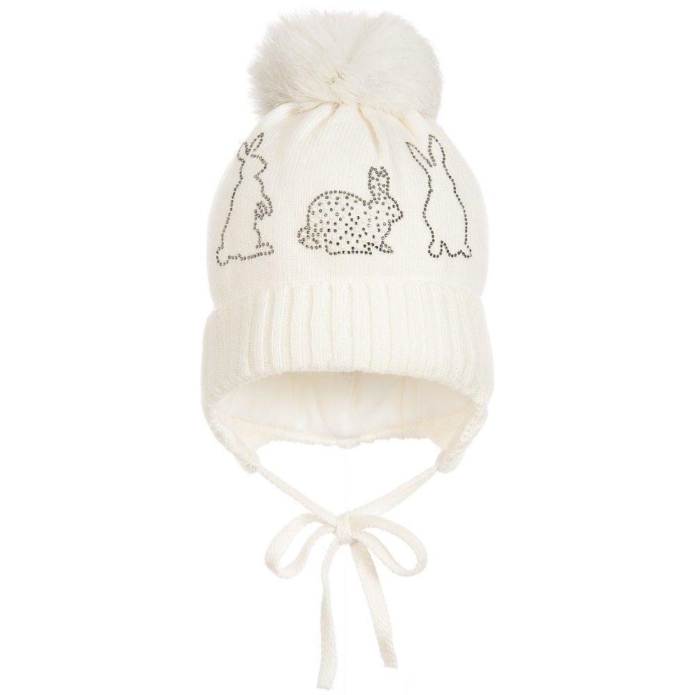 a95dedd889a Jamiks - Baby Girls Ivory Fur Pom-Pom Hat
