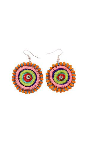 CRYSTAL CIRCLE EARRING - MEGAN PARK -  Hand embroidered earrings of cut glass crystals and fluorescent and candy coloured sequins.