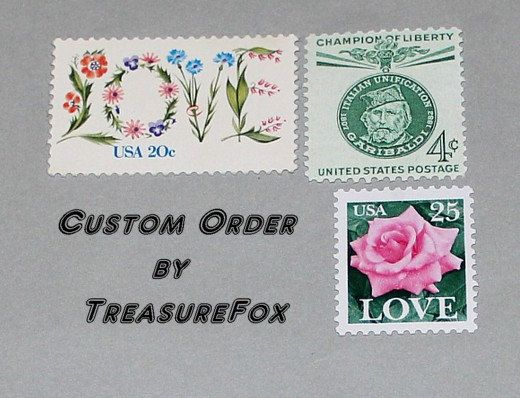 Reserved Custom Order for brettinfantino .. Custom order of vintage postage stamps with a pink and green floral them for mailing thank you cards. Sold on Etsy by TreasureFox