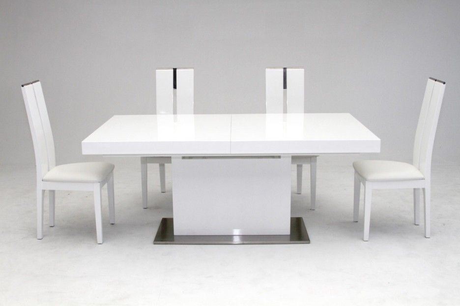 Perfect Dining Room Modern White Dining Table Design With Rectangular Tabletop And  Square Pedestal Also Metallic Base Plus White Chairs : Dining Room Tables  With ...
