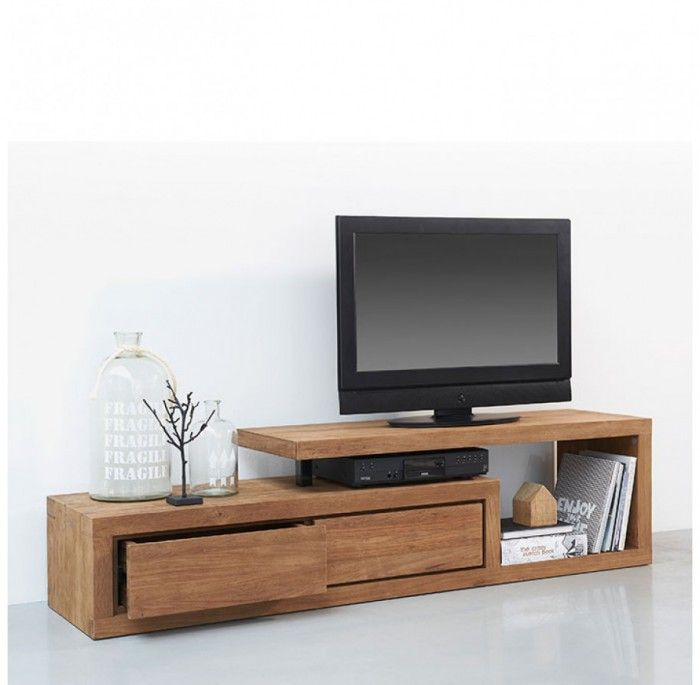 D Bodhi Teakhouten Tv Meubel Lekk Mooie Vormgeving Praktisch Door De Lades Door Ptd Living Room Tv Stand Tv Stand Furniture Bedroom Tv Stand