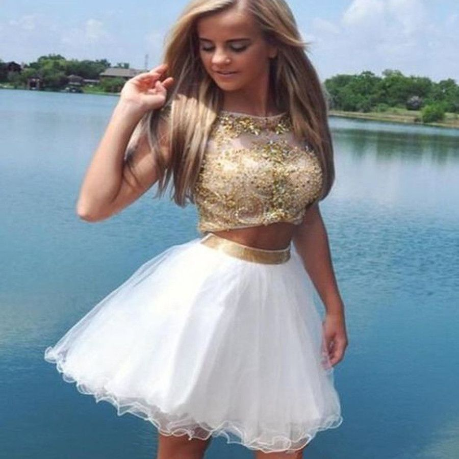 Sexy two pieces aline scoop tulle beaded backless formal homecoming