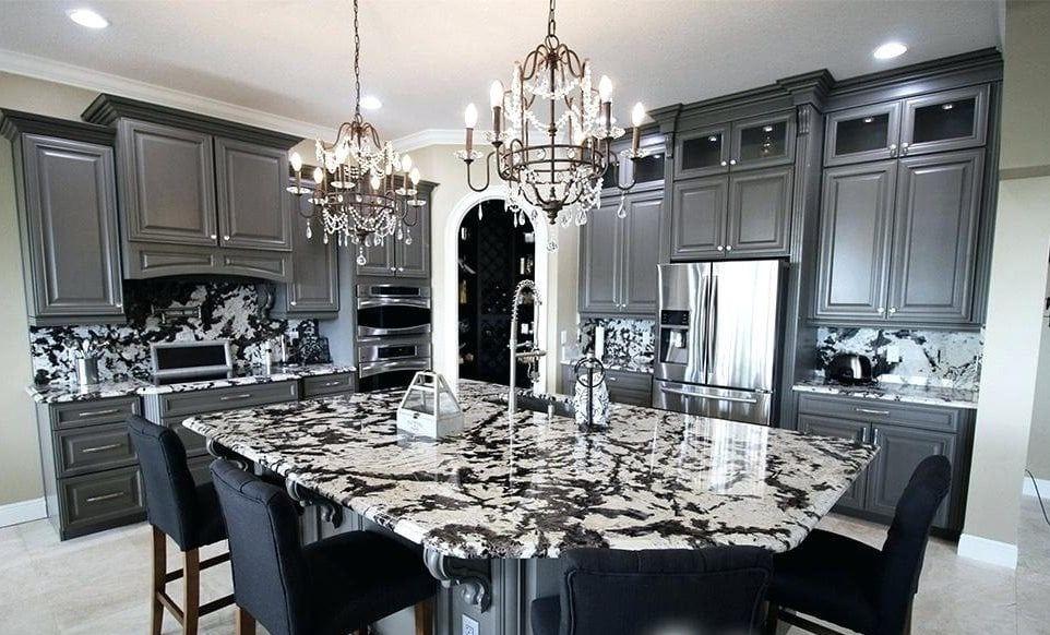 Black White Kicthen White Granite Countertops Dark Grey Kitchen Grey Kitchen Cabinets