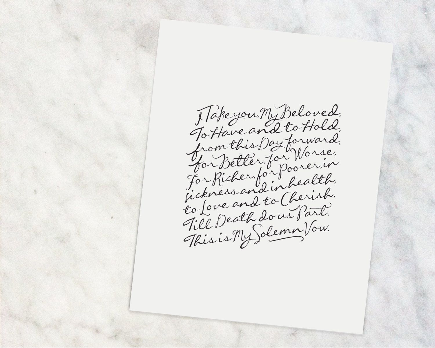 "Wedding Vows  |  8x10"" Calligraphy Print, Home Decor, Wedding Gift, Anniversary Gift, Traditional Vows, Black and White, Wedding Vows Print by doxologypress on Etsy https://www.etsy.com/au/listing/468593532/wedding-vows-8x10-calligraphy-print-home"