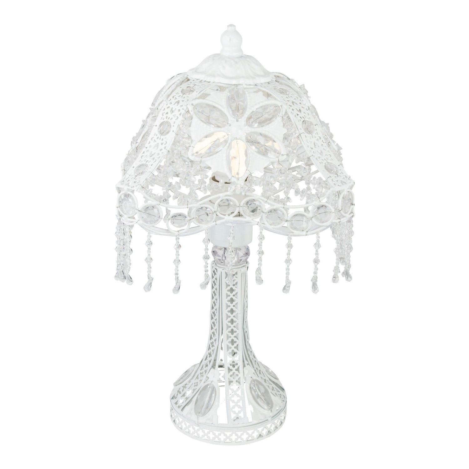 Buy white floral jewel drop table lamp lighting the range buy white floral jewel drop table lamp lighting the range aloadofball Choice Image