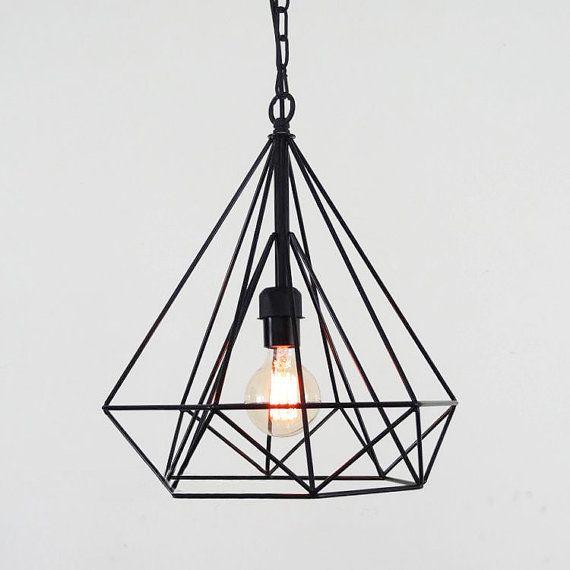 Diamond wire cage pendant light / Geometric minimalist / warehouse ...