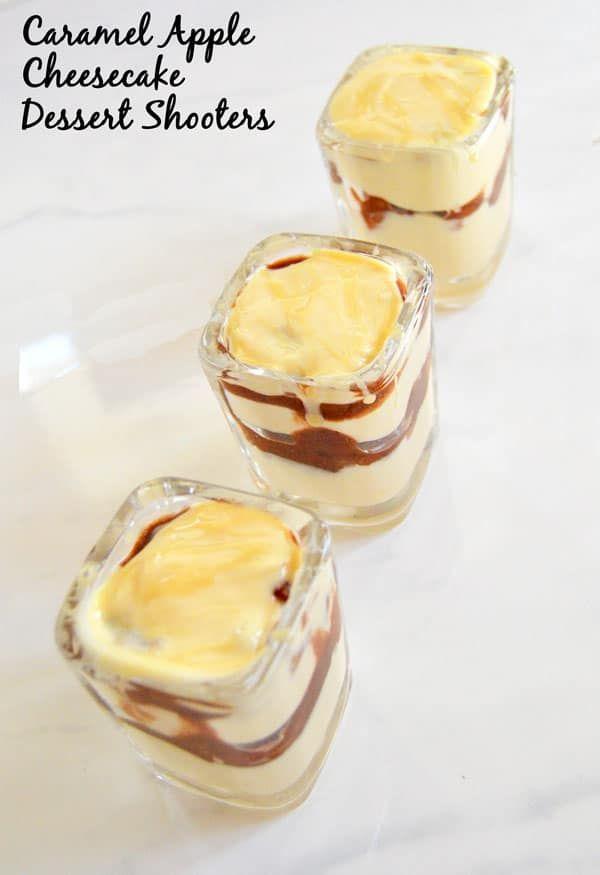 Caramel Apple Cheesecake Dessert Shooters #dessertshooters Caramel + apple pie + cheesecake = cheesecake dessert shooters worthy of your next dinner party but good enough for a weeknight. #caramelapplecheesecake