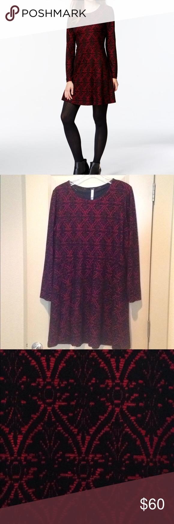 Kensie red and black longsleeved dress nwt black velvet red