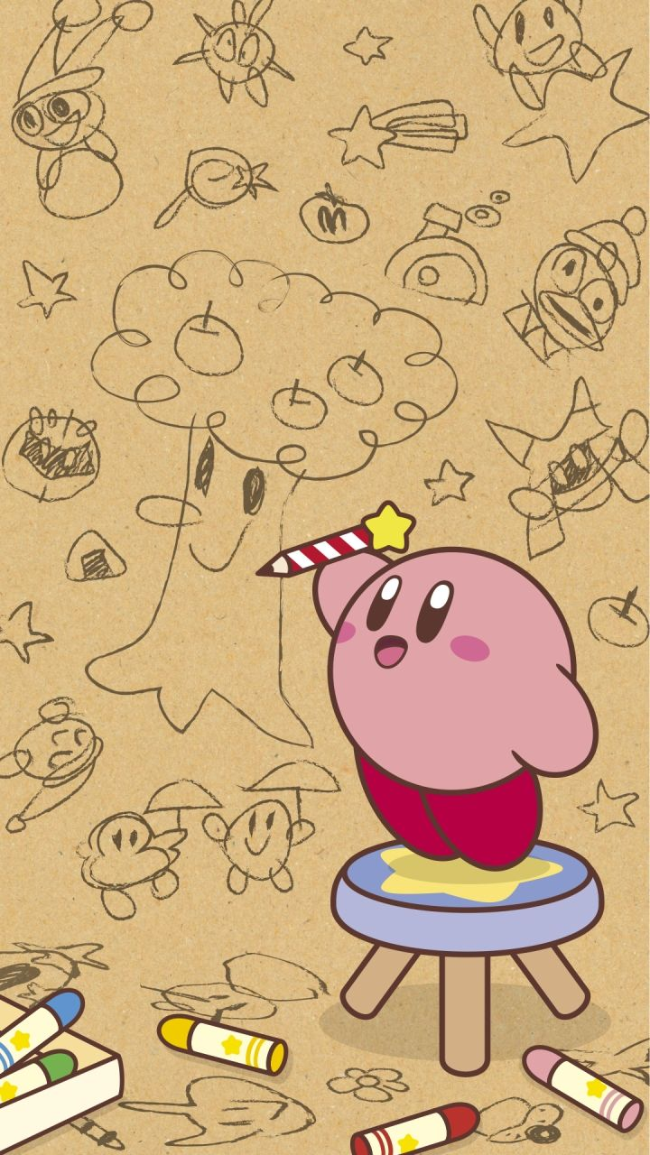 Kirby Drawing On The Wall Kirby art nintendo, Kirby